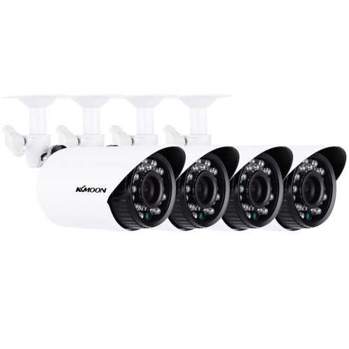 KKmoon® 4pcs / lot 1500TVL Telecamere CMOS 3.6mm resistente agli agenti atmosferici IP66 Filtro IR-CUT Day / Night Outdoor / Indoor Sicurezza domestica CCTV Bullet Camera Kit