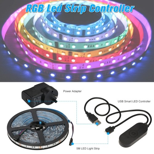 USB WIFI PC/TV Backlight Kit 5M 16.4ft RGB Light Strip LED Strip Lights
