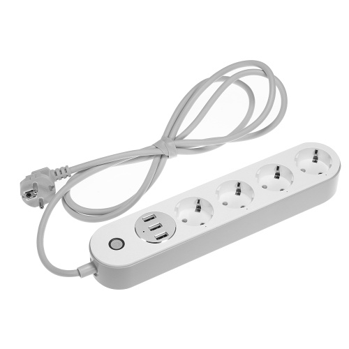 WiFi Smart Power Strip Socket Compatible with Amazon Alexa Google Home Voice Control Multi-Plug Timer Switch Power Strip Outlet with 4 AC Outlets 3 USB Port Free App Remote Control Via Android iOS Smartphone Tablets