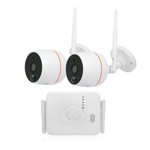 2PCS 1080PワイヤレスIPカメラセットと4CH無線LAN NVRキットビデオ監視TFカードレコード
