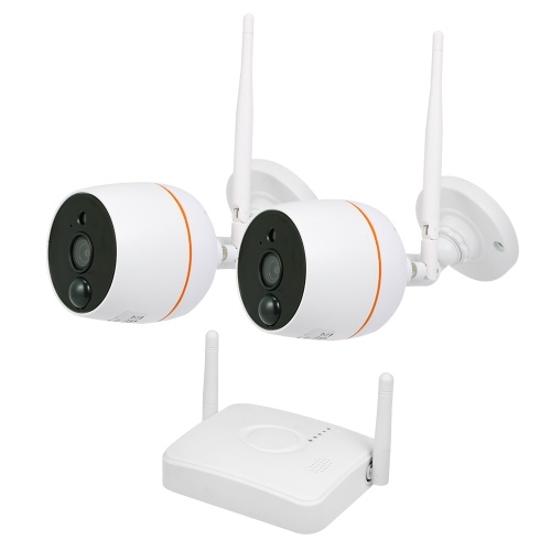 4CH Wifi  NVR Kit Video Surveillance TF Card Record with 2PCS 1080P Wireless IP Camera Set