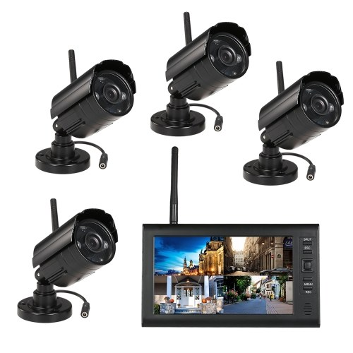 """Drahtlose 2,4 GHz 7 """"TFT Digital LCD Display Monitor 4 Kanal DVR Sicherheitssystem + 4 IR Nachtsicht Wasserdichte Kameras"""