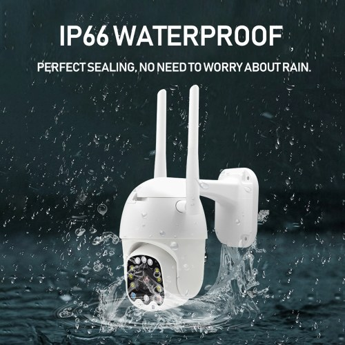 1080P Cloud Wifi Camera PTZ Full Color Night Version Outdoor Waterproof Auto Tracking Home Secure IP Camera Digital Zoom Speed Dome Camera with Siren Light 360 Degree Two-way Audio