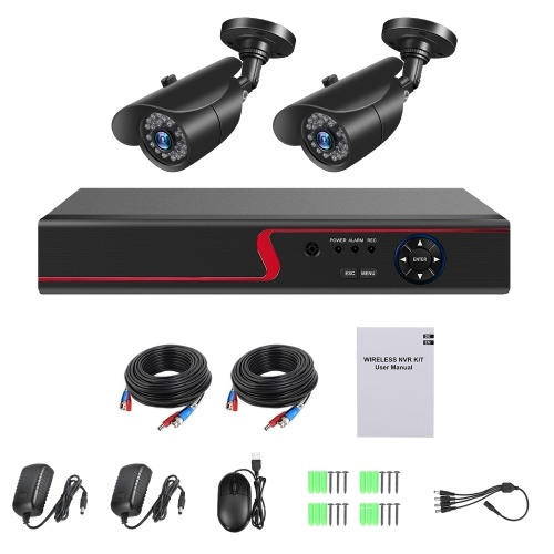 4 Channel Digital Video Recorder + 2pcs 1080P Cameras with Home Security and Surveillance System