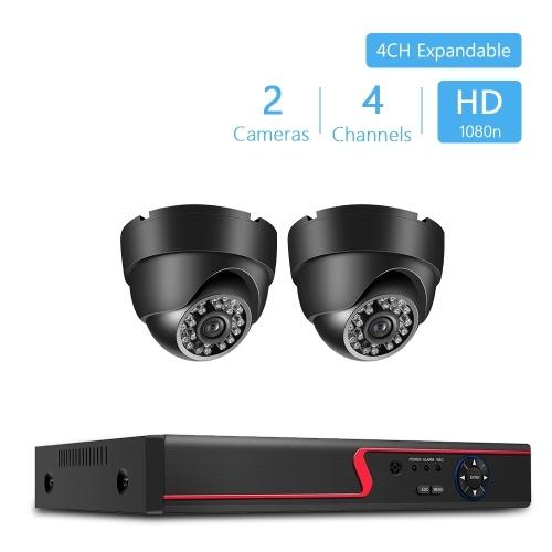 Grabadora de video digital 4 canales + 2 piezas 1080 p cámara resistente a la intemperie bala