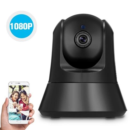 Беспроводная 1080P IP-камера Wi-Fi Домашняя камера видеонаблюдения для ребенка старшего домашнего животного няни Мониторинг Запись TF-карты Панорамирование / Наклон Двухстороннее аудио Обнаружение движения ночного видения