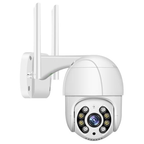 Câmera de segurança PTZ 1080P ao ar livre 2MP ao ar livre à prova d'água Wi-Fi câmera de vigilância com visão noturna bidirecional de detecção de movimento por áudio e acesso remoto