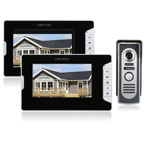"""Kit de intercomunicação com campainha de vídeo porteiro OWSOO 7 """"2 Monitor interno 1 Câmera externa Visão noturna Chamada viva-voz Controle elétrico de fechadura para segurança doméstica"""