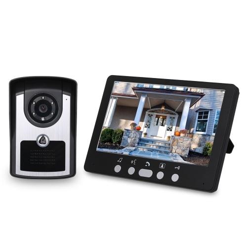 Système d'interphone de sonnette de téléphone de porte vidéo de caméra de moniteur HD de 7 pouces