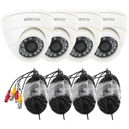 4 個入 CCTV カメラ + 4 個入 60 フィート ビデオ ケーブル IR カット家監視 PAL システム KKmoon® 800TVL セキュリティ キット (プラグを電源: 1 = EU/2 = 米国/3 = イギリス/4 = AU)