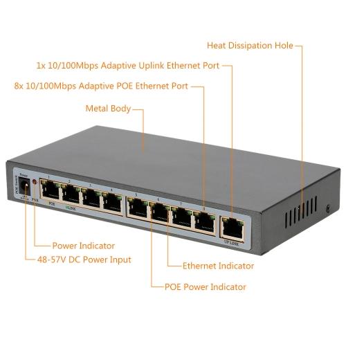 8-port 100MBit IEEE802.3af POE Switch/Injector Power over Ethernet für IP Kamera VoIP Telefon AP-Geräte 108POE-AF