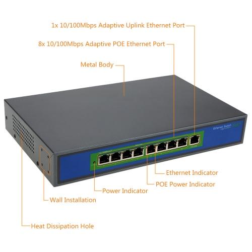8-port 100MBit IEEE802.3af POE Switch/Injector Power over Ethernet für IP Kamera VoIP Telefon AP-Geräte-108POE-M-AF