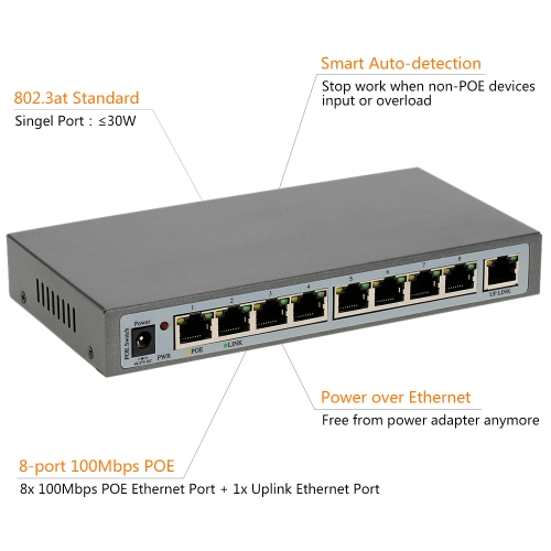 8 Port 100Mbps IEEE802.3at POE Switch/Injector Power over Ethernet for IP Camera VoIP Phone AP devices 108POE-AT