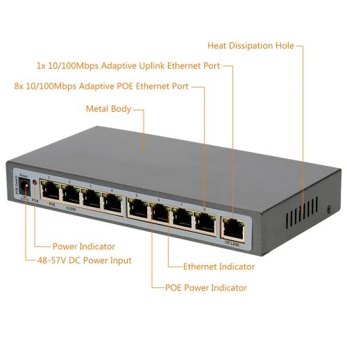 8-port 100MBit IEEE802.3at POE Switch/Injector Power over Ethernet für IP Kamera VoIP Telefon AP-Geräte 108POE-AT