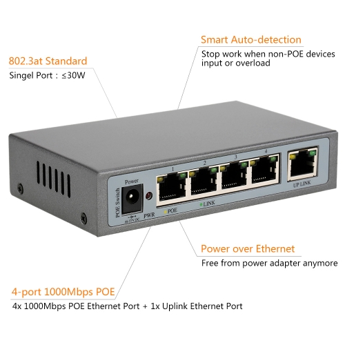 4 port 1000MBit IEEE802.3at POE Switch/Injector Power over Ethernet für IP Kamera VoIP Telefon AP-Geräte 1004POE-AT
