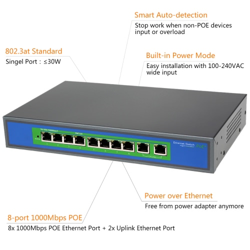 8 Port 1000Mbps IEEE802.3at POE Switch/Injector Power over Ethernet for IP Camera VoIP Phone AP devices 1010POE-AT