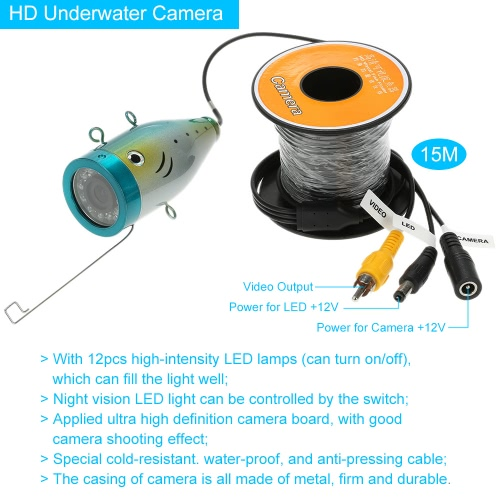 KKmoon® 15M Underwater Fish Finder HD 1200TVL Camera for Ice/Sea/River Fishing with 7in LCD Monitor