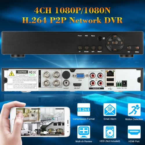 4CH H.264 1080P/1080N P2P Network DVR CCTV Security Phone Control Motion Detection Email Alarm for Surveillance Camera