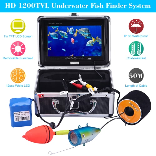 KKmoon® 50M Underwater Fish Finder HD 1200TVL Camera for Ice/Sea/River Fishing with 7in LCD Monitor