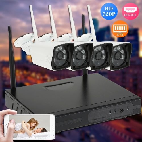4CH H.264 Wireless WiFi NVR Kit CCTV Security System with 4pcs HD 720P Surveillance IP Camera