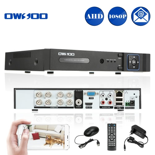 OWSOO 8CH Channel Full 1080N(960*1080) AHD DVR HVR NVR H.264 HD P2P Cloud Network Onvif Digital Video Recorder + 1TB Hard Drive support Audio Record Phone Control Motion Detection Email Alarm PTZ for CCTV Security Camera Surveillance System