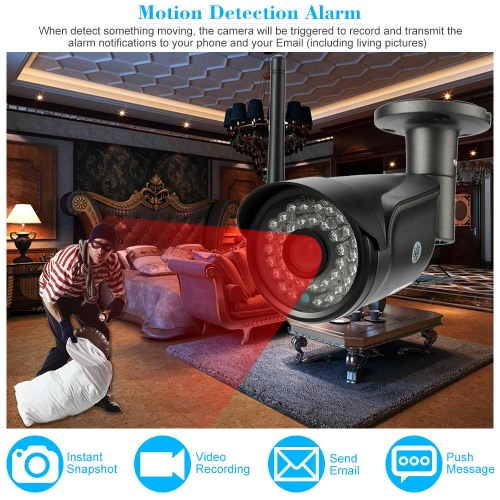 IPCC HD Megapixels 720P Wireless Wifi Camera + 8G TF Card CCTV Surveillance Security Indoor Outdoor P2P Network IP Cloud Camera support ONVIF Phone Control Weatherproof IR-CUT Night Vision Motion Detection Email Alarm