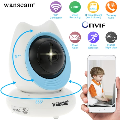 Wanscam®  Wireless 720P Pan Tilt IP Camera 1/4'' CMOS WIFI Indoor Security Night Vision Phone App Control Support Max 128GB TF Card Record HW0048