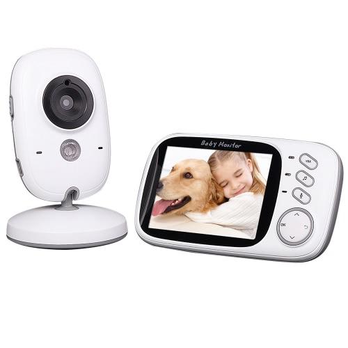 3.2in 2,4 GHz Wireless Baby Monitor + Kamera-Unterstützung Auto-Pair Plug and Play 2-Wege-Talk-IR Nacht-Temperatur-Musik VOX-Akku für Heim Überwachung CCTV-Überwachungs