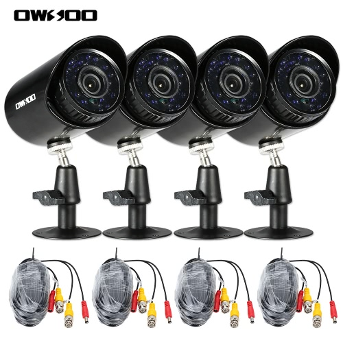 OWSOO 4*800TVL Outdoor/Indoor Bullet Security CCTV Camera + 4*60ft Surveillance Cable support Weatherproof IR-CUT Night View Plug and Play 3.6mm 24 Infrared LEDs