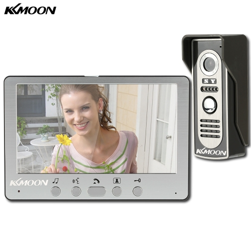 "KKmoon 7"" Wired Video Door Phone System Visual Intercom Doorbell Alloy Panel with 1*800x480 Indoor Monitor + 1*700TVL Outdoor Camera support Unlock Infrared Night View Rainproof for Home Surveillance"