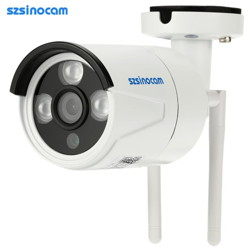 szsinocam HD Megapixels 720P 2.4G/5.8G Wireless Wifi Camera + 8G TF Card CCTV Surveillance Security P2P Network IP Cloud Indoor Outdoor Bullet Camera support Onvif2.4 Weatherproof IR-CUT Filter Infrared Night Vision Motion Detection Email Alarm Android/iOS APP Free CMS 3LED