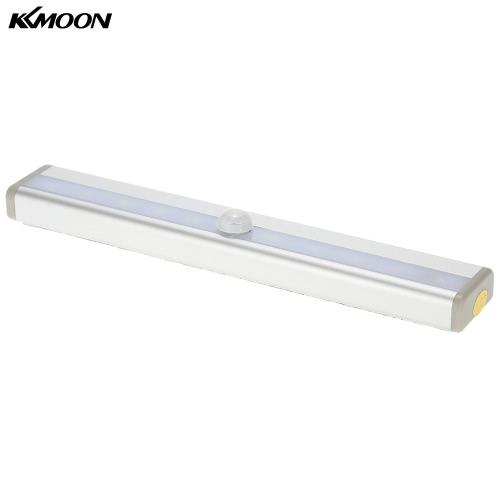 KKmoon 10 LED Auto Menschliches PIR Bewegung Induktions-Detektor-Licht Bar Wireless-Kabinett Kleiderschrank Sensor-Wand-Nachttischlampe weißes Licht