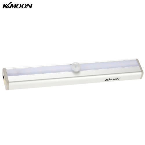 KKmoon  10 LED Auto PIR Human Motion Induction Detector Light Bar Wireless Cabinet Wardrobe Closet Sensor Wall Night Lamp White Light