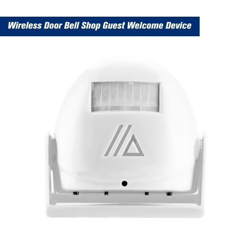 Sem fio Porta Bell Loja Convidado Bem-vindo Dispositivo Sensor De Movimento Infravermelho Casa Alarme Anti-roubo, Branco