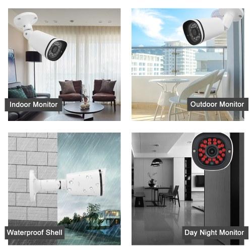 "1080P HD POE IP Camera 2.0MP 3.6mm 1/3"" CMOS H.265 P2P Onvif 24pcs IR Lamps Night View IR-CUT Motion Detection Phone APP Control Indoor/Outdoor Waterproof Home Security"