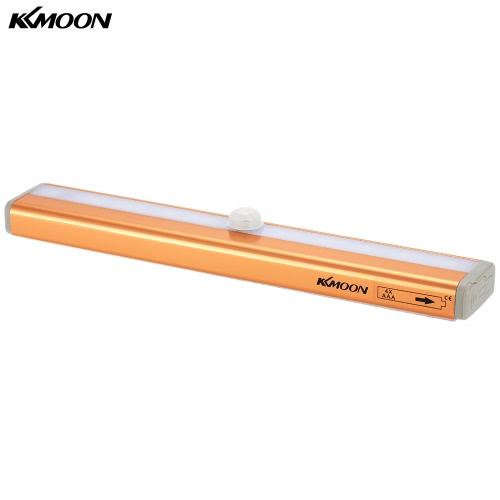 KKmoon 10 LED Auto Menschliches PIR Bewegung Induktions-Detektor-Licht Bar Wireless-Kabinett Kleiderschrank Sensor-Wand-Nachttischlampe gelbes Licht
