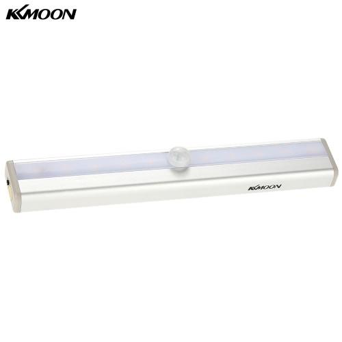 KKmoon 10 LED-Selbst-PIR menschlicher Bewegung Induktions-Detektor-Licht Bar Wireless-Kabinett Kleiderschrank Sensor-Wand-Nachttischlampe gelbes Licht