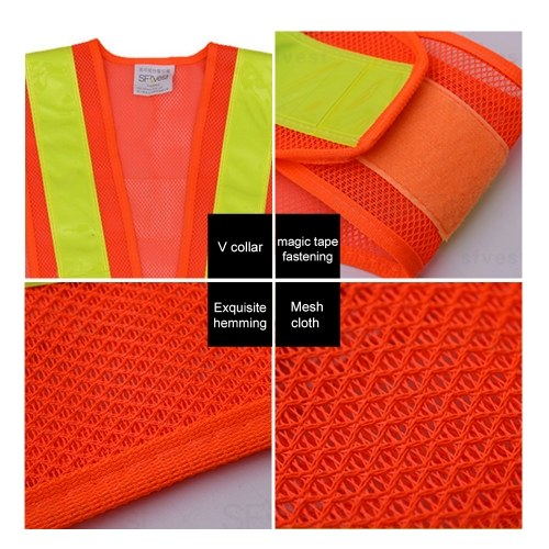 SFVest High Visibility Reflective Vest Reflective Safety Strap Vests Workwear Security Working Clothes Day Night Cycling Running Traffic Warning Safety Waistcoat