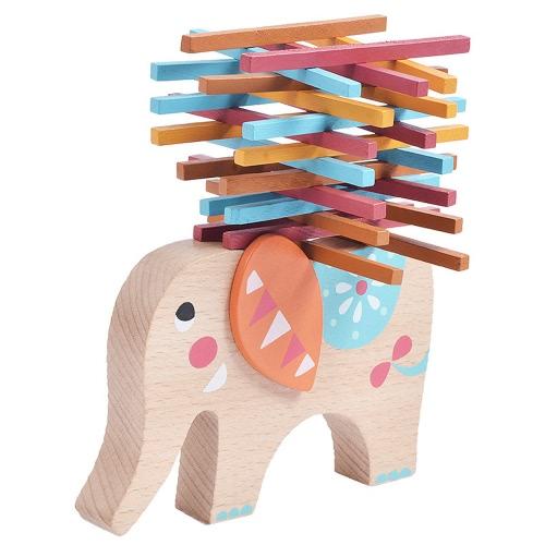 Wooden Balance Elephant Wooden Blocks Balance Toy Table Game Elephant Balancing Game Educational Toys