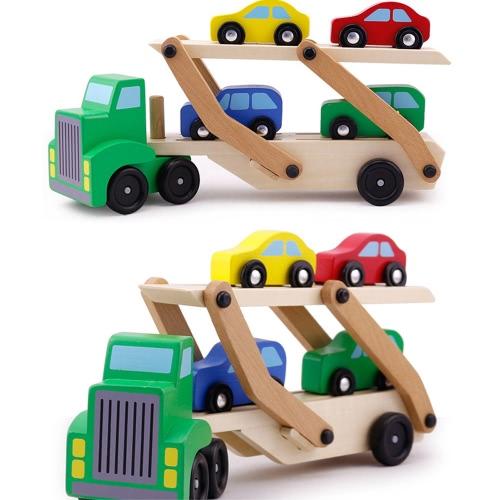 Camion portante di legno dell'automobile del doppio di legno ed automobili Set di giocattolo di legno con 1 camion e 4 automobili