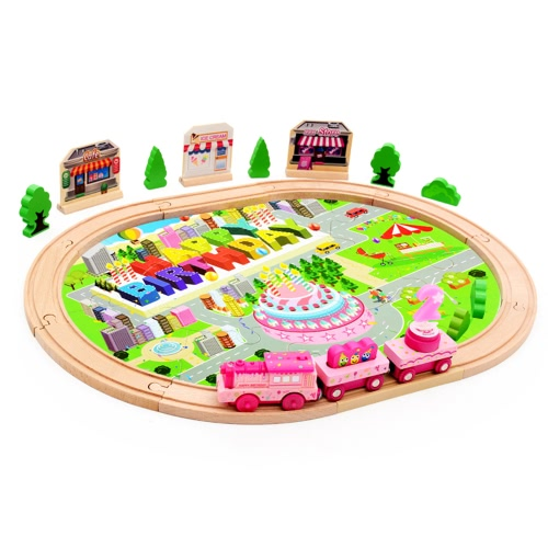 39Pcs Wooden Train Set Electronic Train Track Set With Music Wooden Railway For Kids' Birthday Gift