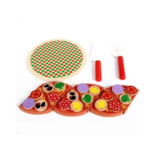 27Pcs hölzernes Pizza-schneidendes Spielzeug-Kind-Küche-Spielwaren Nahrungsmittelsimulation-Schnitt-Spielwaren vorgeben Spiel-Spiel-Spielwaren-Spielzeug für Kinder