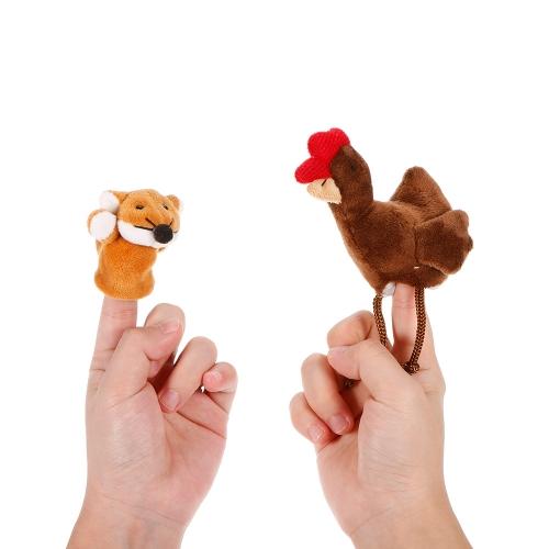 2本の動物の指の人形かわいい漫画のぬいぐるみの指の人形の子供赤ちゃん早期の教育おもちゃ
