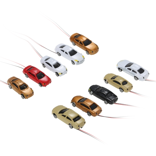 Painted Head Light Model Car 1:200 Scale Scenery Building Train Layout Pack of 10 Train Cars