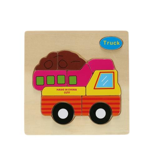 子供たちの赤ちゃんのためのトラックの形のパズル木製ブロック漫画グッズ子供の知能教育玩具