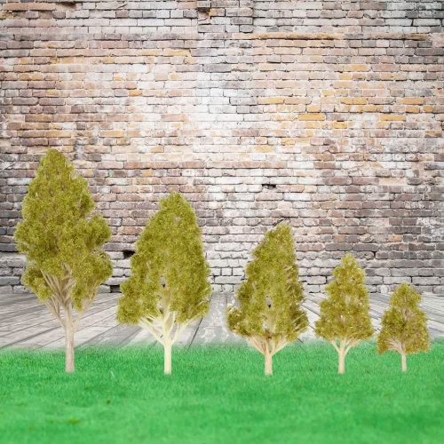 5 Stück Kunststoff-Modell Bäume architektonische Model Railroad Layout Garten Landschaft Landschaft Puppe Hochzeiten Diorama Miniaturen