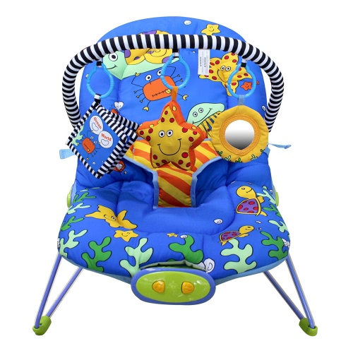 Amtoys Adjustable Baby Infant Bouncer Seat Rocker Snoothing Vibration Rocking Chair with Toy Bar Seaworld 3 Grades 51 * 78 CM