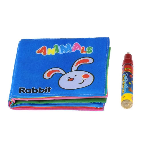 Coolplay Baby's First Fabric Book Soft Cloth Book Non-toxic Magic Water Drawing Book Educational Toy for Kids