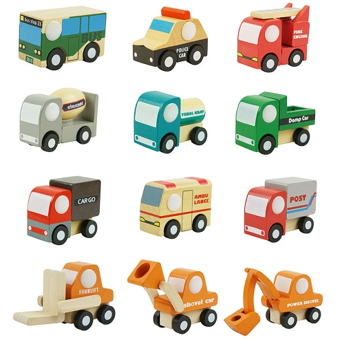 12 Pcs Wooden Car 1 Toys Mini Car Model Vehicle Set Classic Construction Team Educational Toys for Kids