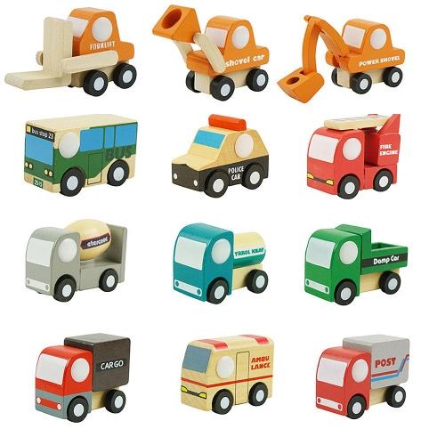 12 piezas de madera de coches 1 juguetes Mini coche modelo de vehículo conjunto de construcción clásica del equipo de juguetes educativos para niños